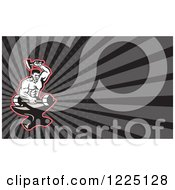 Clipart Of A Retro Blacksmith Forging A Dumbbell On An Anvil Background Or Business Card Design Royalty Free Illustration