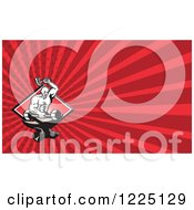 Clipart Of A Retro Strong Blacksmith Forging A Dumbbell On An Anvil Background Or Business Card Design Royalty Free Illustration