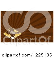 Clipart Of A Retro Movie Camera And Brown Rays Background Or Business Card Design Royalty Free Illustration