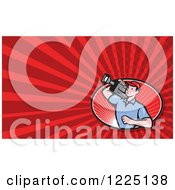 Clipart Of A Filming Camera Man Background Or Business Card Design Royalty Free Illustration