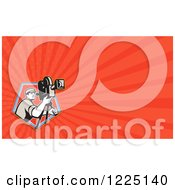 Clipart Of A Retro Filming Camera Man Background Or Business Card Design Royalty Free Illustration
