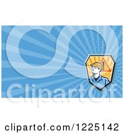 Poster, Art Print Of Retro Contractor And Warning Shield Background Or Business Card Design