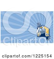 Clipart Of A Retro Male Janitor With A Mop Background Or Business Card Design Royalty Free Illustration