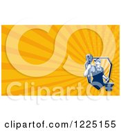 Clipart Of A Retro Janitor With A Mop Background Or Business Card Design Royalty Free Illustration