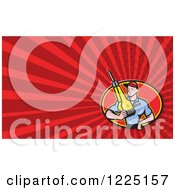 Clipart Of A Contractor Holding A Jackhammer Background Or Business Card Design Royalty Free Illustration by patrimonio