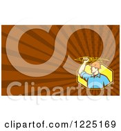 Retro Electrician And Brown Rays Background Or Business Card Design