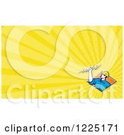 Retro Electrician And Yellows Rays Background Or Business Card Design