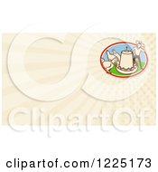 Clipart Of A Retro Farmer And Chicken Feeder Background Or Business Card Design Royalty Free Illustration