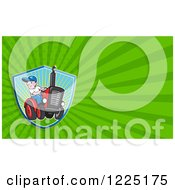 Clipart Of A Retro Farmer On A Tractor Background Or Business Card Design Royalty Free Illustration