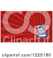 Clipart Of A Retro Fireman Axe And Hose Background Or Business Card Design Royalty Free Illustration