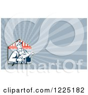 Clipart Of A Retro Man At A Fish Market Background Or Business Card Design Royalty Free Illustration