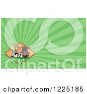 Clipart Of A Retro Landscaper And Wheelbarrow Background Or Business Card Design Royalty Free Illustration