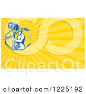 Clipart Of A Retro Lighting Technician Background Or Business Card Design Royalty Free Illustration