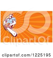 Clipart Of A Retro Arborist With A Chainsaw Over Orange Rays Background Or Business Card Design Royalty Free Illustration