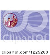 Clipart Of A Retro Waiter Serving Wine Background Or Business Card Design Royalty Free Illustration by patrimonio