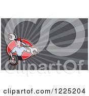 Clipart Of A Mechanic With A Wrench And Tire Background Or Business Card Design Royalty Free Illustration by patrimonio