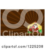 Clipart Of A Retro Man On A Rid On Lawn Mower Background Or Business Card Design Royalty Free Illustration