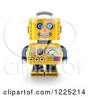 Clipart Of A 3d Happy Yellow Retro Robot Royalty Free Illustration