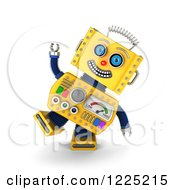 Clipart Of A 3d Goofy Yellow Retro Robot Royalty Free Illustration