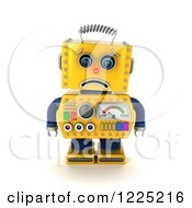 Clipart Of A 3d Sad Yellow Retro Robot Pouting Royalty Free Illustration
