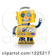 Clipart Of A 3d Friendly Waving Yellow Retro Robot Royalty Free Illustration
