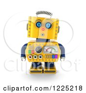 Clipart Of A 3d Surprised Yellow Retro Robot Royalty Free Illustration
