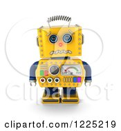 Clipart Of A 3d Yellow Retro Robot About To Cry Royalty Free Illustration