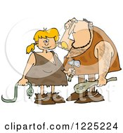 Clipart Of A Dumb Caveman And Girl With A Snake Royalty Free Vector Illustration by Dennis Cox