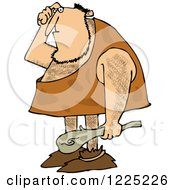 Clipart Of A Dumb Caveman Scratching His Head And Holding A Club Royalty Free Vector Illustration