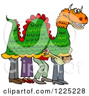 Clipart Of A Man Peeking Out From Under A Chinese Dragon Royalty Free Vector Illustration by djart