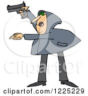 Clipart Of An Armed Robber Man In A Hoodie Royalty Free Vector Illustration