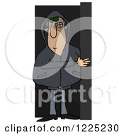 Clipart Of A Creepy Man Lurking In The Shadows Royalty Free Illustration