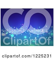 Clipart Of An Abstract Gradient Blue Background With Sparkling Lights Royalty Free Vector Illustration