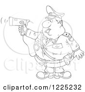 Clipart Of An Outlined Chubby Police Offer Blowing A Whistle And Holding A Radar Gun Royalty Free Vector Illustration by Alex Bannykh