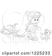 Clipart Of An Outlined Puppy And Boy Walking With A Sled Bike Royalty Free Vector Illustration