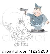 Clipart Of An Outlined And Colored Chubby Police Offer Blowing A Whistle And Holding A Radar Gun Royalty Free Vector Illustration by Alex Bannykh