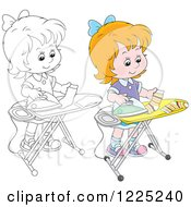 Clipart Of An Outlined And Colored Girl Ironing Socks Royalty Free Vector Illustration