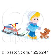 Clipart Of A Puppy And Blond Boy Walking With A Sled Bike Royalty Free Vector Illustration