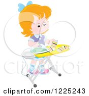 Clipart Of A Happy Red Haired Girl Ironing Socks Royalty Free Vector Illustration