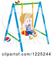 Clipart Of A Brunette Caucasian Boy Playing A Swing Royalty Free Vector Illustration