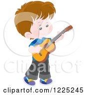 Clipart Of A Brunette Caucasian Boy Playing A Guitar Royalty Free Vector Illustration by Alex Bannykh