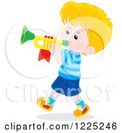 Clipart Of A Brunette Caucasian Boy Playing A Trumpet Royalty Free Vector Illustration by Alex Bannykh