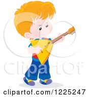 Clipart Of A Brunette Caucasian Boy Playing A Balalaika Guitar Royalty Free Vector Illustration by Alex Bannykh
