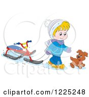 Clipart Of A Puppy And Boy Walking With A Sled Bike Royalty Free Vector Illustration