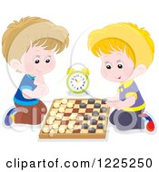 Clipart Of Happy Caucasian Boys Playing Checkers Royalty Free Vector Illustration by Alex Bannykh