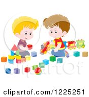 Clipart Of Happy Caucasian Boys Playing With Blocks And A Toy Train Royalty Free Vector Illustration