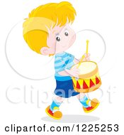 Clipart Of A Happy Caucasian Boy Playing Drums Royalty Free Vector Illustration by Alex Bannykh