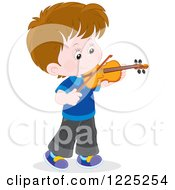 Brunette Caucasian Boy Playing A Violin