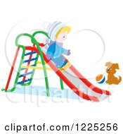 Clipart Of A Winter Boy Going Down A Slide Near A Puppy And Ball Royalty Free Vector Illustration by Alex Bannykh