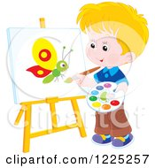 Happy Blond Boy Painting A Butterfly On An Art Easel